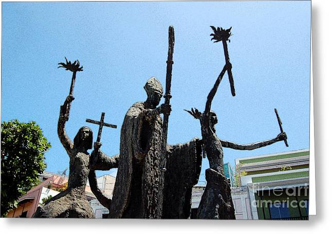 Rogativa Greeting Cards - La Rogativa Statue Old San Juan Puerto Rico Ink Outlines Greeting Card by Shawn O