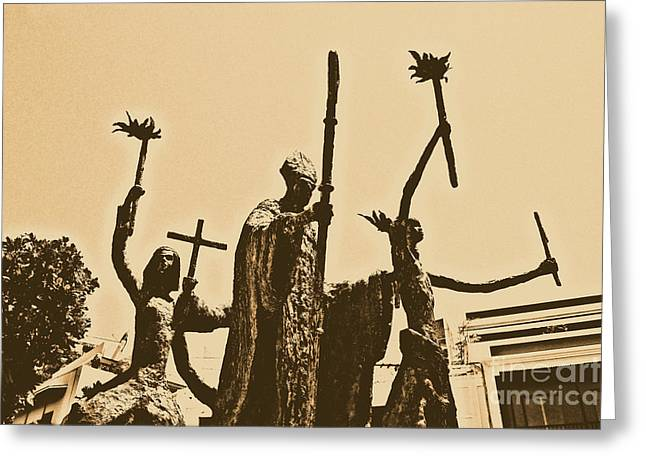Rogativa Greeting Cards - La Rogativa Statue Old San Juan Puerto Rico Rustic Greeting Card by Shawn O