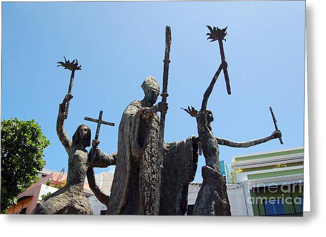 Rogativa Greeting Cards - La Rogativa Statue Old San Juan Puerto Rico Greeting Card by Shawn O