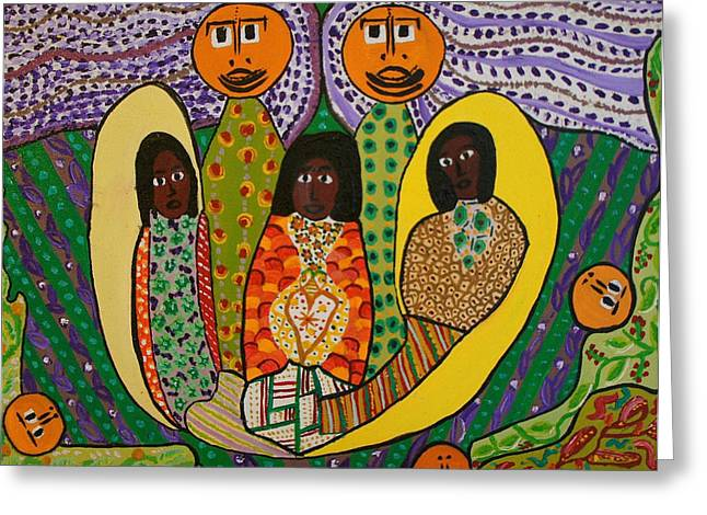 Vodou Paintings Greeting Cards - La Ronde re anvizaje Greeting Card by Amanacer Originals