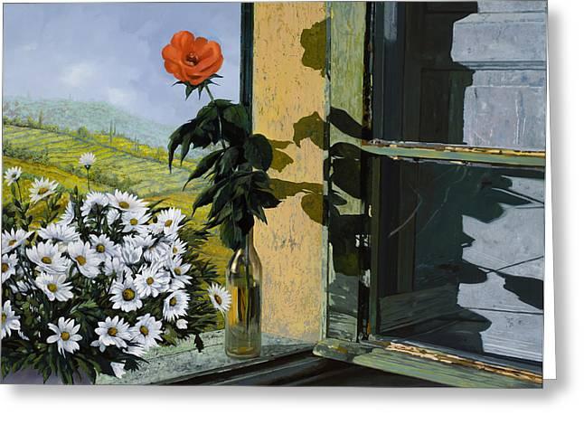 la rosa alla finestra Greeting Card by Guido Borelli