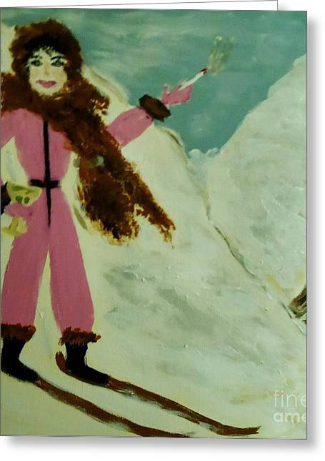 Ski Art Greeting Cards - La Shai in Skiing in the Swiss Alps Greeting Card by Marie Bulger