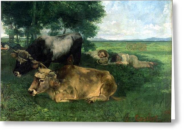 Gustave (1819-77) Greeting Cards - La Siesta Pendant la saison des foins Greeting Card by Gustave Courbet