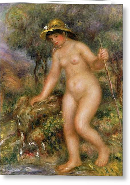La Source Or Gabrielle Nue Greeting Card by Pierre Auguste Renoir