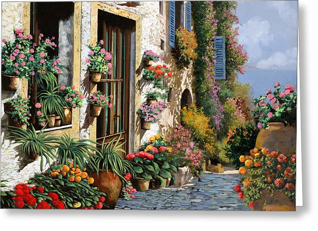 Stone Paintings Greeting Cards - La Strada Del Lago Greeting Card by Guido Borelli