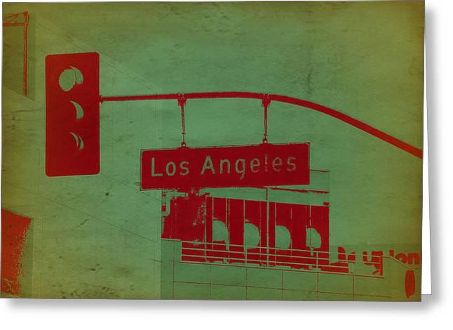 Surfing California Greeting Cards - LA Street Ligh Greeting Card by Naxart Studio