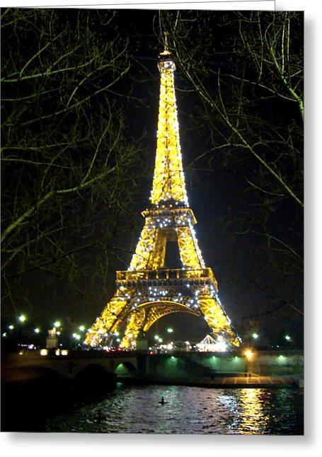 Al Bourassa Greeting Cards - La Tour Eiffel En Nuit Greeting Card by Al Bourassa