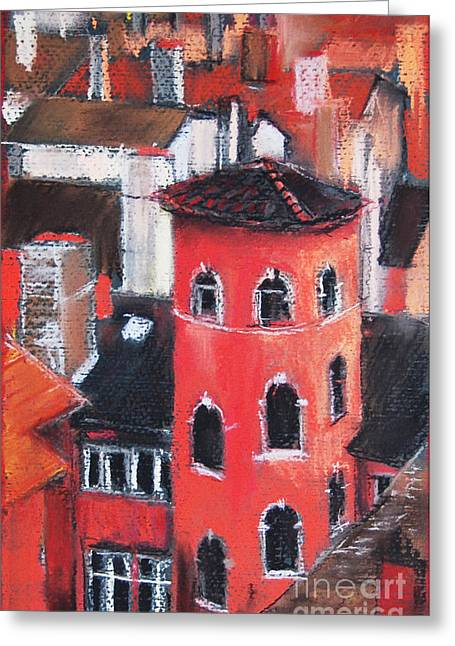 Red Buildings Pastels Greeting Cards - La Tour Rose In Lyon 1 Greeting Card by Mona Edulesco