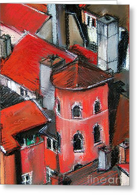 Urban Buildings Pastels Greeting Cards - La Tour Rose In Lyon 2 Greeting Card by Mona Edulesco