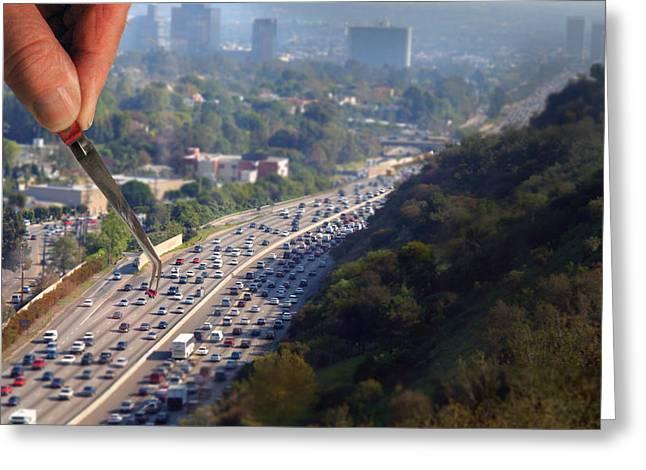 Traffic Control Greeting Cards - LA Traffic Control Greeting Card by Larry Mulvehill