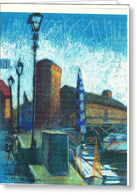 In-city Pastels Greeting Cards - La vecchia biblioteca Cervia R 1999 Greeting Card by Suzanne Giuriati-Cerny