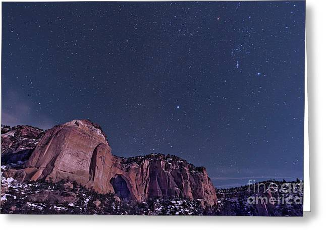 Land Feature Greeting Cards - La Ventana Arch With The Orion Greeting Card by John Davis