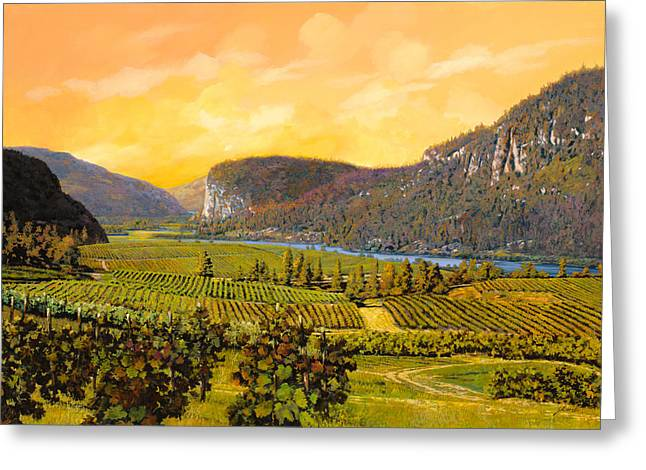Vineyards Paintings Greeting Cards - La Vigna Sul Fiume Greeting Card by Guido Borelli