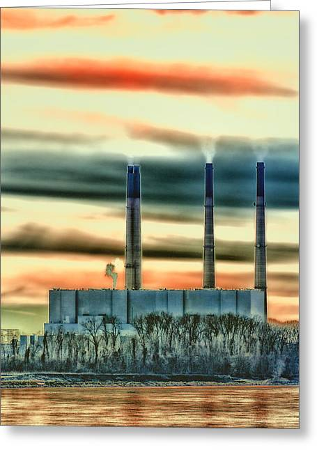 Water Powered Power Plants Greeting Cards - Labadie Power Plant Greeting Card by Bill Tiepelman
