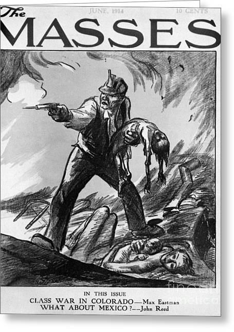 Magazine Pages Greeting Cards - Labor Cartoon, 1914 Greeting Card by Granger