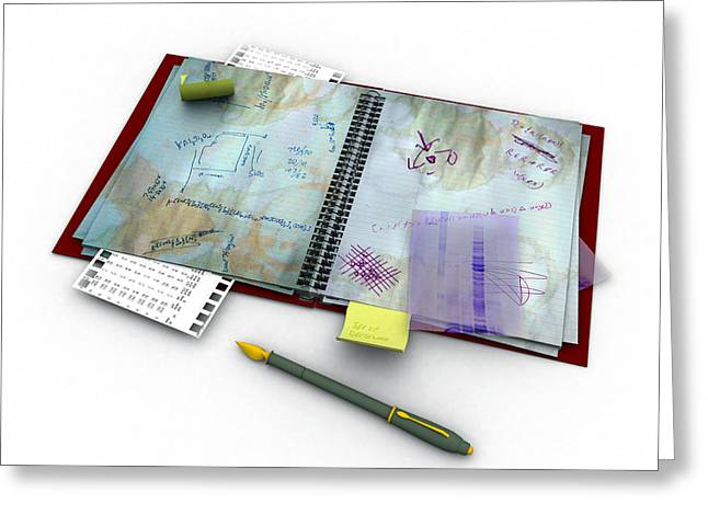 Untidy Greeting Cards - Laboratory Notes, Artwork Greeting Card by Christian Darkin