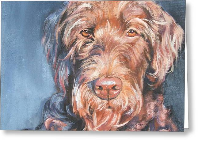Recently Sold -  - Puppies Paintings Greeting Cards - Labradoodle Greeting Card by Lee Ann Shepard