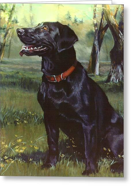 Dog Pet Portraits Greeting Cards - Labrador Retriever Greeting Card by Jean Hildebrant