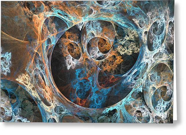 Interior Still Life Mixed Media Greeting Cards - Labyrinth of golden blue - abstract art Greeting Card by Abstract art prints by Sipo