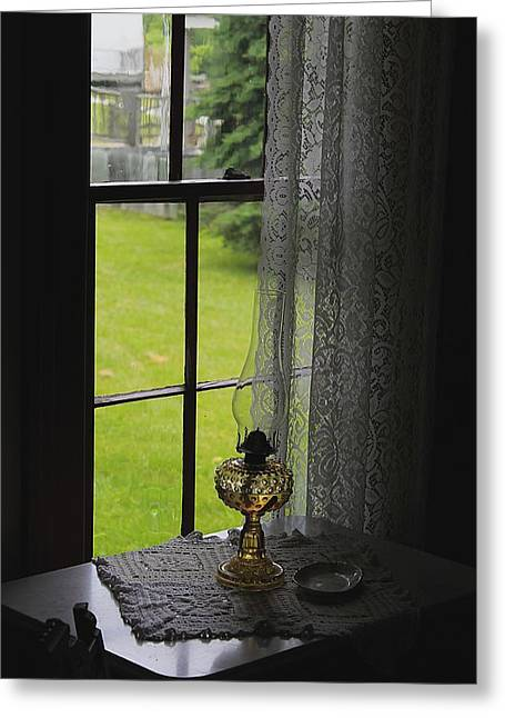 Oil Lamp Greeting Cards - Lace Curtains Greeting Card by Scott Hovind