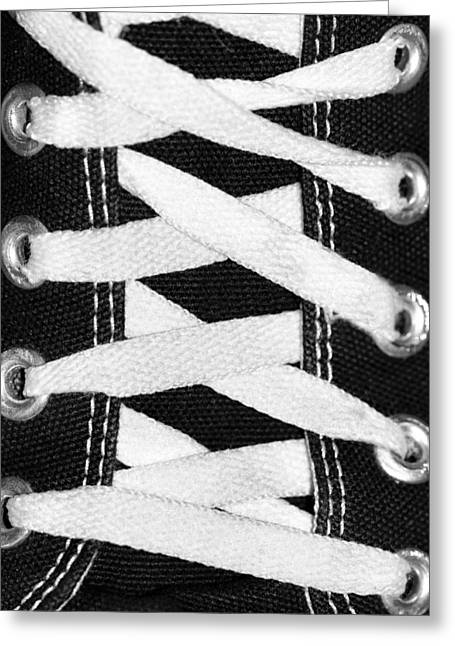 White Sneakers Greeting Cards - Lace Me Up Shoe Laces Greeting Card by Tracie Kaska