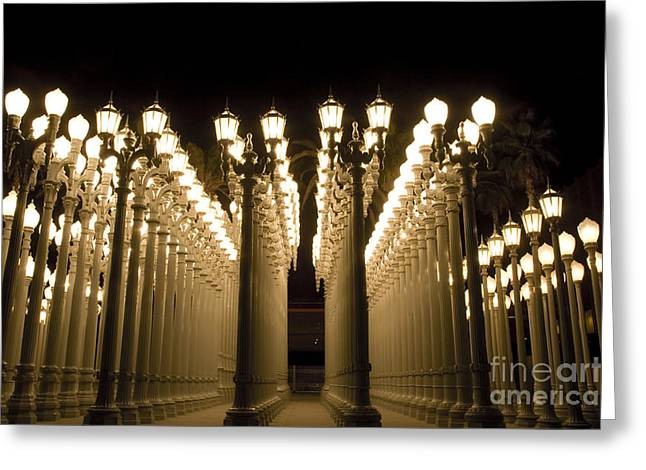 Light Pole Greeting Cards - LACMA Light Exhibit in LA Greeting Card by Micah May