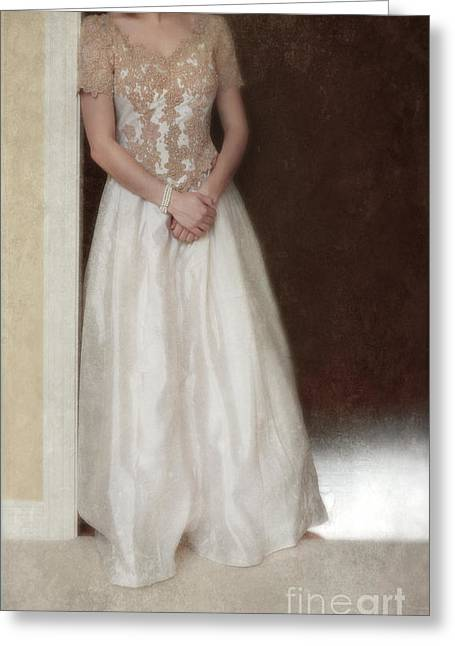 Ball Gown Greeting Cards - Lacy in Ecru Lace Gown Greeting Card by Jill Battaglia