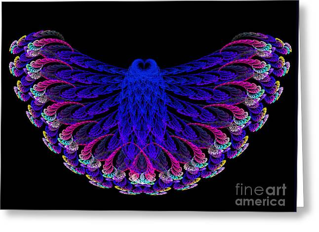 Lacy Fractal Greeting Cards - Lacy Jewel Tone Fractal Flying Owl Greeting Card by Andee Design