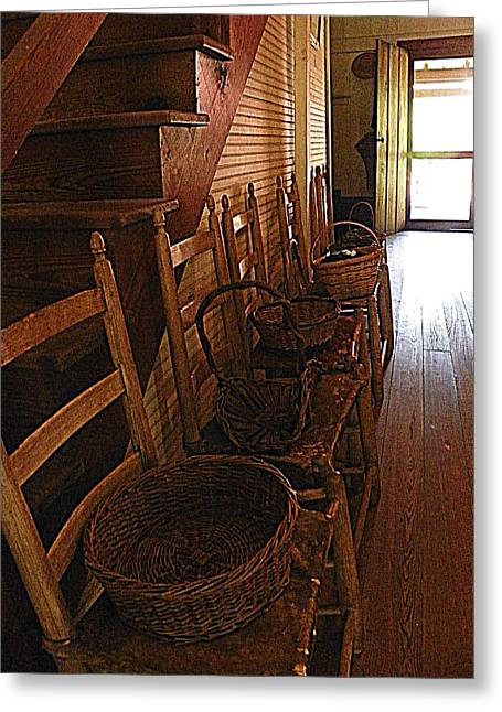 Ladder Back Chairs Greeting Cards - Ladder Backs and Baskets I Greeting Card by Sheri McLeroy