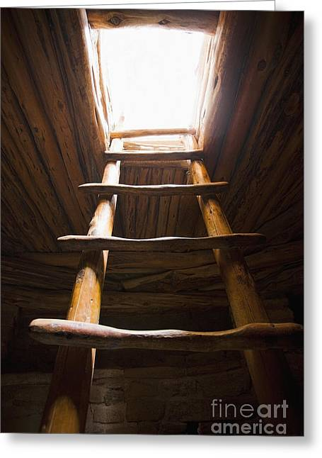 Ladder Of A Native American Cliff Dwelling Greeting Card by Bryan Mullennix