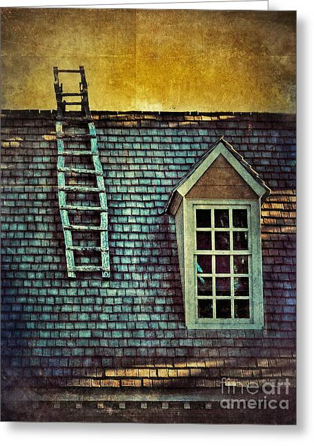 Clapboard House Greeting Cards - Ladder on Roof Greeting Card by Jill Battaglia