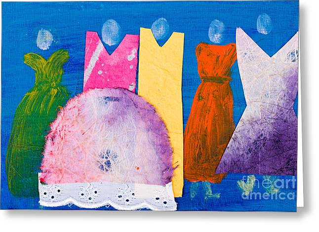 Posh Mixed Media Greeting Cards - Ladies in Dresses Greeting Card by Simon Bratt Photography LRPS