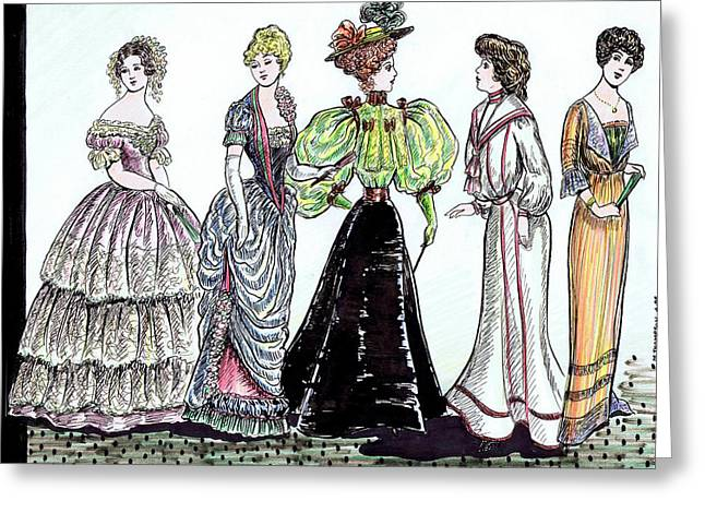 Ruffled Skirt Greeting Cards - Ladies of Fashion 1860 to 1910 Greeting Card by Mel Thompson