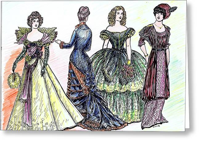 1880s Drawings Greeting Cards - Ladies of Fashion 2 Greeting Card by Mel Thompson
