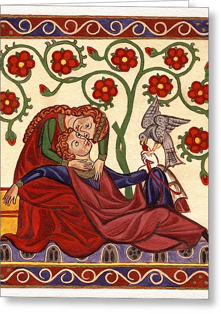 Egg Tempera Paintings Greeting Cards - Lady and Knight with hawk Greeting Card by Raffaella Lunelli
