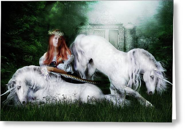 Romanticism Greeting Cards - Lady and the Unicorns Greeting Card by Shanina Conway