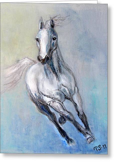 Horse Images Mixed Media Greeting Cards - Lady Arabia Greeting Card by Tarja Stegars