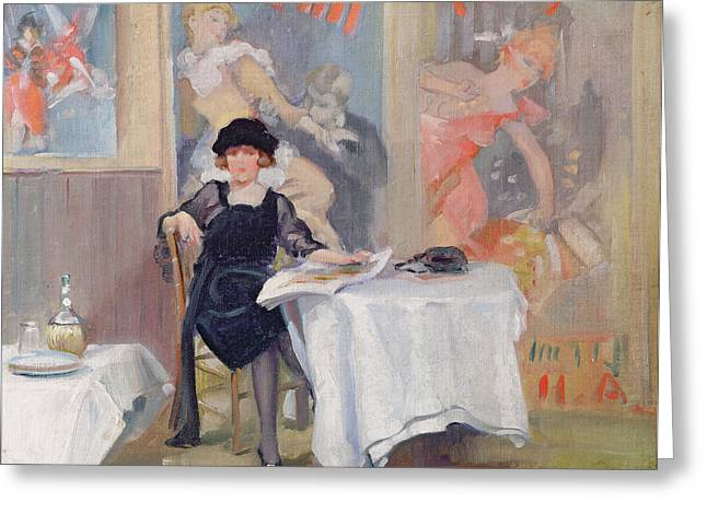 Twenties Greeting Cards - Lady at a Cafe table  Greeting Card by Harry J Pearson