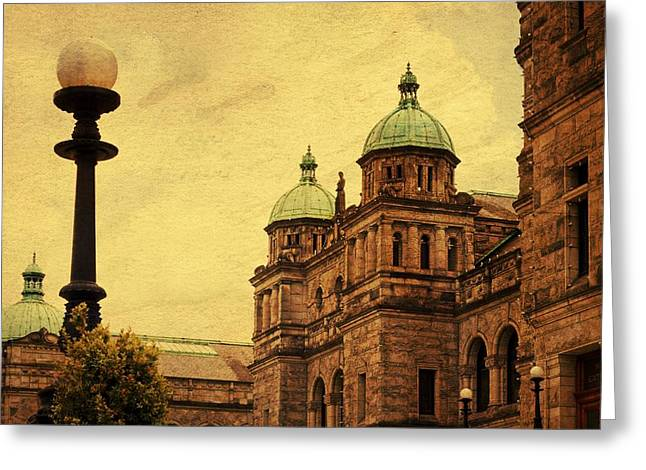 Canon 50d Greeting Cards - Lady Between the Towers Greeting Card by Julius Reque