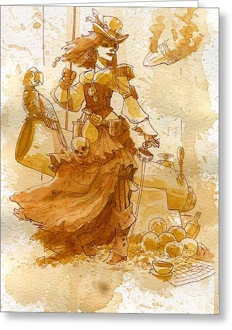 Corset Greeting Cards - Lady Bonney Greeting Card by Brian Kesinger