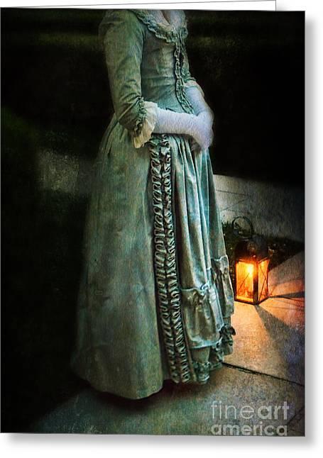 Evening Dress Greeting Cards - Lady by Lantern Light Greeting Card by Jill Battaglia