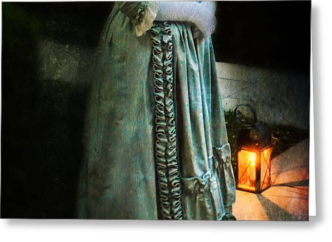 Lady by Lantern Light Greeting Card by Jill Battaglia