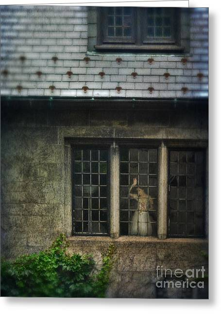 Ball Gown Greeting Cards - Lady by Window of Tudor Mansion Greeting Card by Jill Battaglia