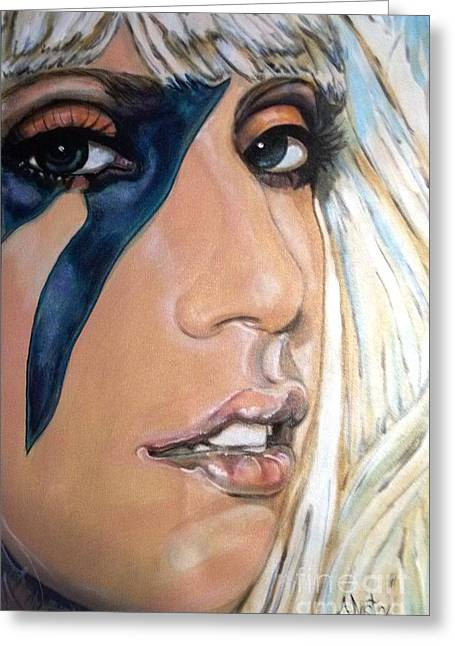 Lady Gaga Paintings Greeting Cards - Lady Gaga 1 Greeting Card by Misty Smith