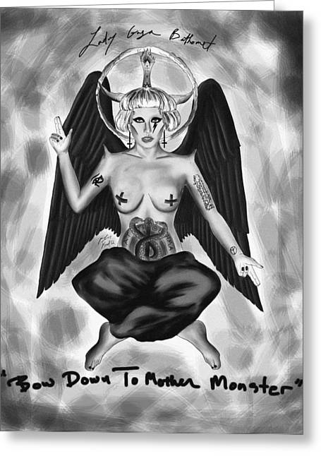 Kenal Louis Greeting Cards - Lady gaga Baphomet  Greeting Card by Kenal Louis