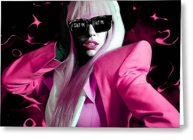 Lady Gaga by GBS Greeting Card by Anibal Diaz