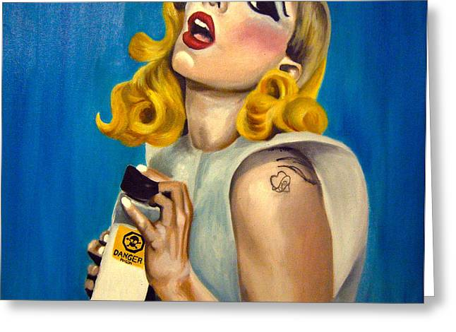 Lady Gaga Paintings Greeting Cards - Lady Gaga Commission Greeting Card by Emily Jones