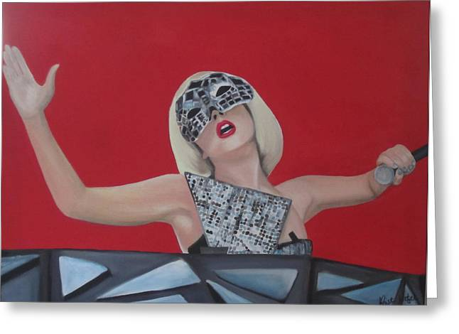 Lady Gaga Poker Face Greeting Card by Kristin Wetzel