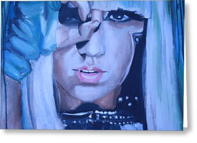 Lady Gaga Paintings Greeting Cards - Lady Gaga Portrait Greeting Card by Mikayla Henderson