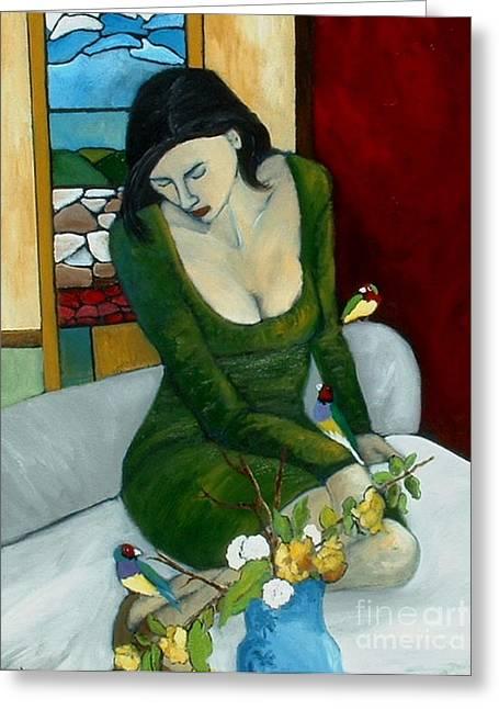 Jordan Paintings Greeting Cards - Lady Gouldains Retreat Greeting Card by Terri Jordan